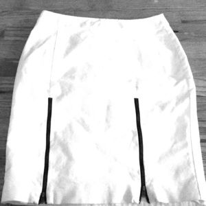 White skirt with two black zippers up front,Size 6